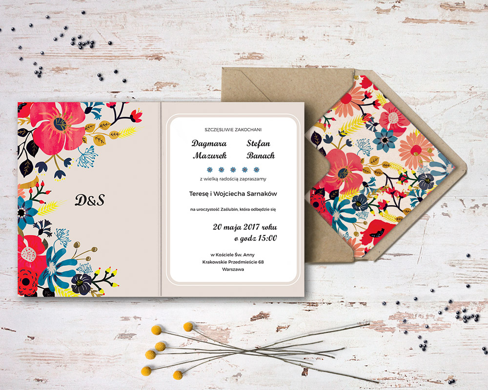 summer flowers wedding invite