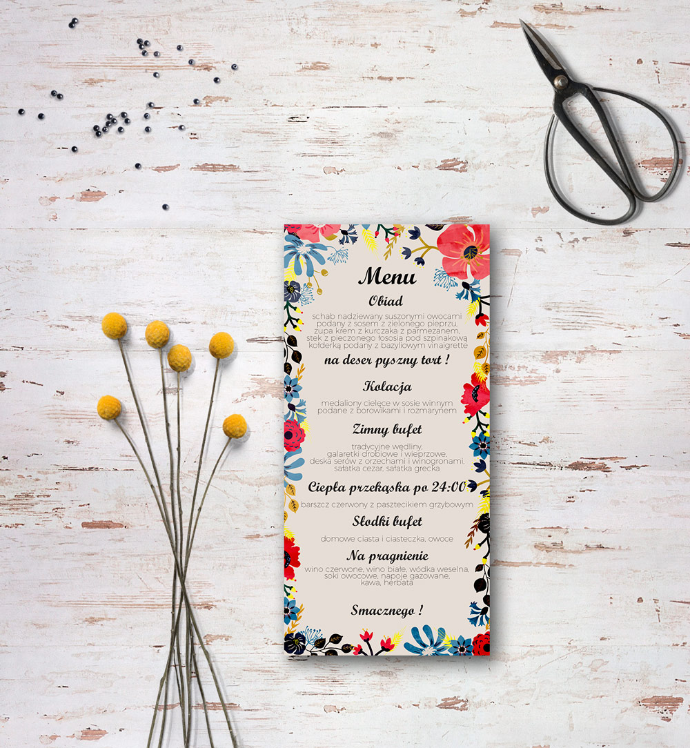 summer flowers wedding menu
