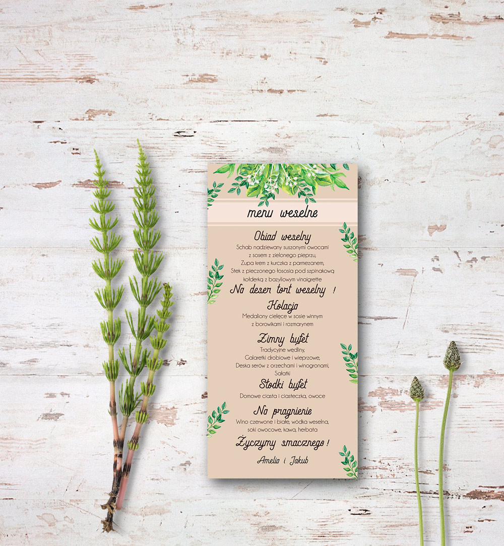 green leaves wedding menu